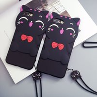 Wholesale Cute D Cat Silicone Phone Case For iPhone6 s plus plus Soft Protector Cover Shell With cat lanyard Capa Para Coque