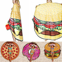 Wholesale 55 quot Large Beach Mat Swimsuit Cover Ups Swim Towel Bathing Suit Cover ups Sexy Shawl Lie On Donut Pizza Hamburger F416