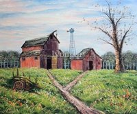 art meadows - Hand painted Hi Q wall art Pastoral Countryside Scenery House Meadow oil painting unframed