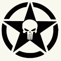 army truck - 50cm x cm Punisher Military Army Star Car Sticker For Cars Side Truck Window Auto SUV Door Kayak Vinyl Decal Colors