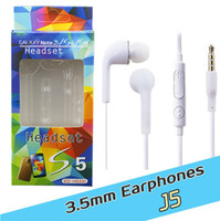 Wholesale 3 mm J5 Headsets In ear Earphones Headphones Hands free with Mic control For Samsung S4 BlackBerry Nokia HTC Xiaomi Phones with retail box