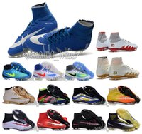 Wholesale Mens high ankle football boots NeyMar X FG HypeRVEnom PhANTom II soccer cleats CR7 MerCUrial SupERfly IV V shoes MaGIsta oBra orDen