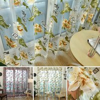 Wholesale New Tulle Shielding Floral Sheer Curtains Window Screen Bedroom Living Room Decorations Curtains drape panel size x inch