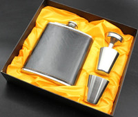alcohol bottle covers - 7oz Stainless Steel Hip Flask Set With PU Cover Two Cups Funnel Portable Outdoor Whisky Stoup Wine Pot Alcohol Bottles With Retail Box