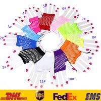 Wholesale Short Fishnet Gloves New Unisex Punk Half Finger Fishnet Gloves Outfits Nightclub Fishnet Gloves Sexy Women Gloves HH G14