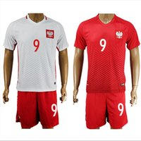Wholesale Poland Soccer Jerseys Euro Polska Shirts Sets Lewandowski Glik Milik Home Away Football Kits Soccer Uniforms European Cup Jersey