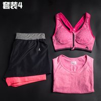 Wholesale women suits sport running T shirts pants bra yoga suits newest cheap pieces running gym fitness legging compression quick drying tights