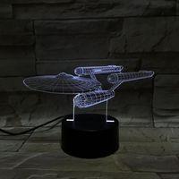 Письменный стол панель Цены-Звездный путь военный корабль 3D иллюзии светодиодные фонари акриловой панелью 7 цветов изменить настольная лампа творческий подарок с дистанционным управлением