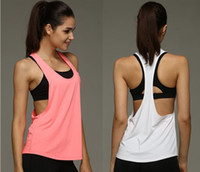 Wholesale Summer Sexy Women Tank Tops Quick Dry Loose Gym Fitness Sport Sleeveless Vest Singlet for Running Training T shirt DHL free