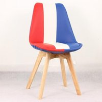 Wholesale Living Room Furniture Home Chairs Dining Chairs Chairs with Flag PU Cover and Original Wooden Legs