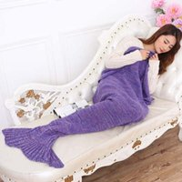 Wholesale 195 CM Adult Mermaid Tail Blanket Knitted Handmade Blanket Crochet Throw Bed Wrap Top Quality Blanket