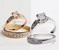 Wholesale 4pcs fashion Wedding Ring for Ladies women K gold plated CZ diamond Rhinestone ring Simulated Diamond Rings and crystal
