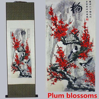 Wholesale National feng shui silk painting scroll landscape painting small gifts with Chinese characteristics The plum blossom