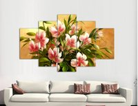 Cheap High Quality 5 Panels Home Decor Wall Art Painting Prints flowers Artwork Modern print Painting as a gift