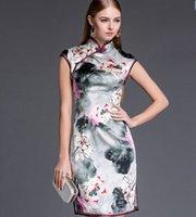 ink ribbon - Spring summer silk elegant ink big yards short women cheongsam dresses of cultivate one s morality dress