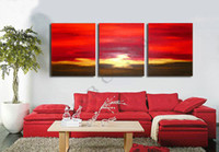 abstract sea paintings sale - 100 Hand Painted Piece Set Decoration Sea Sunset Oil Painting On Canvas Modern Home Wall Picture Wall For Living Room Sale