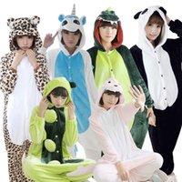 Wholesale Warm adults flannel Pajamas for women girl cosplay Pijama animal Onesies Pyjamas Sets sleepwear Robe Kigurumi Mujer Panda Minion