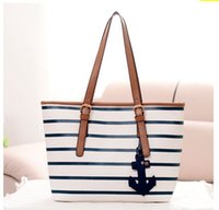 anchor tote bag - Women Bag Stripe British Navy Style Women Handbags Anchor large Casual Tote Bags for Girls Shoulder Leisure Shopping Bag