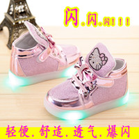 Wholesale 2016 New children s shoes for girls running shoes LED KT cat Bright lights Single shoes size
