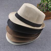 Wholesale Vogue Men Women Straw Hats Soft Fedora Panama Hats Outdoor Stingy Brim Caps