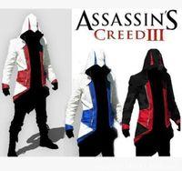 Wholesale Hot Sale Assassins Creed III Conner Kenway Hoodie Coat Jacket Red Black Models Cosplay Costume