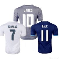 Wholesale 2015 Madrid Jersey Rugby Jerseys football Real Blue Cristiano Ronaldo Bale James Kroos Benzema Bale Men Thai Quality uniform Kits