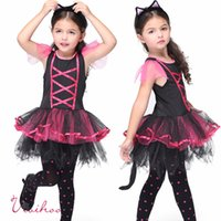 baby kitty costumes - Halloween Girls Kitty Costumes Children Cat Girl Cosplay Fancy Ball Pink Lace up Tulle Tutu Dresses Baby Kids Party Dancing Dresses