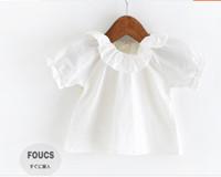 Wholesale 2016 cute newborn Baby Girls Summer Ruffles short Sleeve cotton Tops kids summer clothing children princess girl T shirts