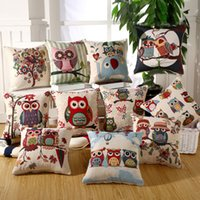 Wholesale Owl Cushion Cover Multicolor Pliiowcase Linen Cotton Cushion Cover for Sofa Decor cm Square Cushion Cover