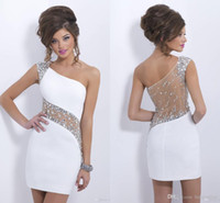 Wholesale Sparkly Crystal Blush Homecoming Dresses Cocktail One Cap Sleeve Cheap In Stock Short Mini Sheath Illusion See Through Back CPS207
