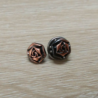 antique rose color - wholesales brushed antique copper color metal rose pin badge zinc alloy material
