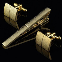 Wholesale Men Plating Metal Necktie Tie Bar Clasp Clip Cufflinks Set Gold C00044 FSH