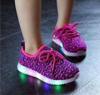 Wholesale 2016 new foreign trade shoes breathable mesh LED light sport shoes children shoes coconut on girls