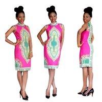 Wholesale Cheongsam Vestido - New Fashion Design Cheongsam Style Rose Pink Print Dress Women Retro Sleeveless Dress Plus Size Bodycon vestido de festa WE702109