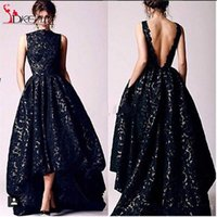 Wholesale Hot sale Black High Low Formal Occasion Ball Gown High Neck Arabic Style Evening Dress Back Open Long Lace Party Dress Aramex Liyatt