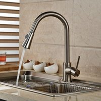 Wholesale Brushed Nickel Pull Out Spout Swivel Kitchen Sink Mixer Tap Single Handle Deck Mount Faucet