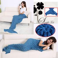 air bag woman - Mermaid Tail Blankets Super Soft Sleeping Bag Hand Crocheted Fish Scale Sofa Blanket Air condition Blanket Siesta Blankets For Women X90