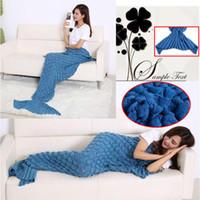 Wholesale Mermaid Tail Blankets Super Soft Sleeping Bag Hand Crocheted Fish Scale Sofa Blanket Air condition Blanket Siesta Blankets For Women X90