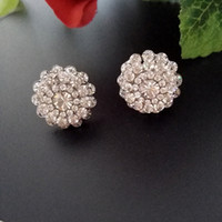 alloy outlet - clip on earrings zirconia diamond flower RIhood Designs BA brand Jewelry outlets