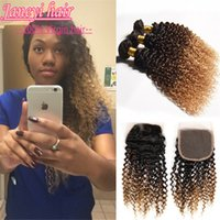 Wholesale 7A Malaysian Ombre Bundles Kinky Curly With Lace Frontal Closure Ombre Deep Curly Indian Human Hair With Free Part Closure