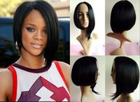 Wholesale B Black Straight Wigs women For Black Female Trendy Short Staight Synthetic Wig inches