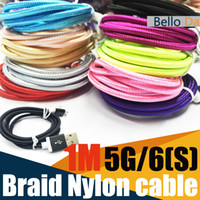 apple p - 1M USB nylon braided cable for G s metel mold Data Sync charging USB Cord Colors for p hone