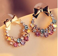 Wholesale 10 Pair Clear Crystal Zircon K Gold Plated Vintage Retro Dangle Hoop Earrings Fashion Jewelry Drop Pendant Earrings Gift for Women