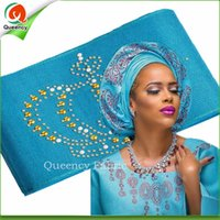 african gele fabric - New Arrival Unique Aso Oke with stones Headtie African SEGO headtie gele Wrapper Scarf meters length colors available AS011