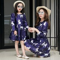 Wholesale 2017 New spring autumn Mother daughter dresses cute cat style dresses for big girls and women fashion family clothing dresses