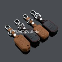 accord rings - 100 Genuine Leather Car Key chain Key Case Fob Cover for Accord Crider Smart Folding Remote Key Chain Ring Holder Car Accessories