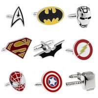 Wholesale Fashion Jewelry Style Cufflink Superman Star Wars Batman Spiderman Cuff Llinks for Male Female Mix Order CK0911