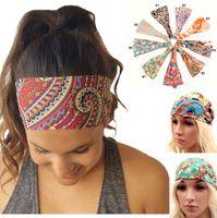Wholesale 2016 New Bohemia Style Chiffon Headband Women Yoga Wash Face Sport Hair Bands Stretch Wide Head Wrap Floral Hair Accessories