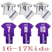 Wholesale 2016 Real madrid Kids soccer Jersey Youth Child kit RONALDO home white away Purple Sets JAMES BALE RAMOS ISCO football shirt