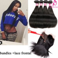 baby hair extensions - Lace frontal bundles Peruvian hair straight Ear to ear with baby hair x4 lace frontal closure with bundles human hair extensions